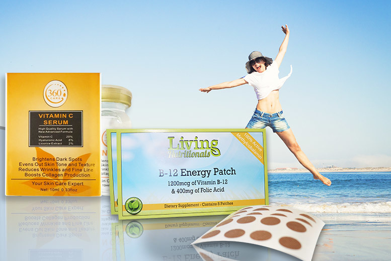 Vitamin C Facial Serum & Vitamin B-12 Energy Patches for £7.99