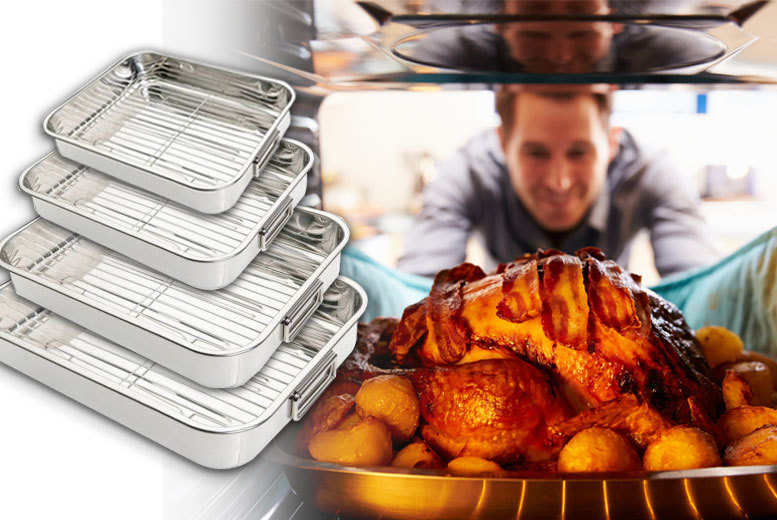 4pc Stainless Steel Roasting Trays & Racks for £19.99