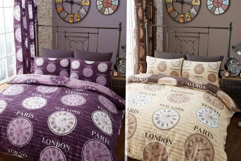 Titanium Clock Sheet Set with Fitted Sheet & Curtains - 3 Designs!