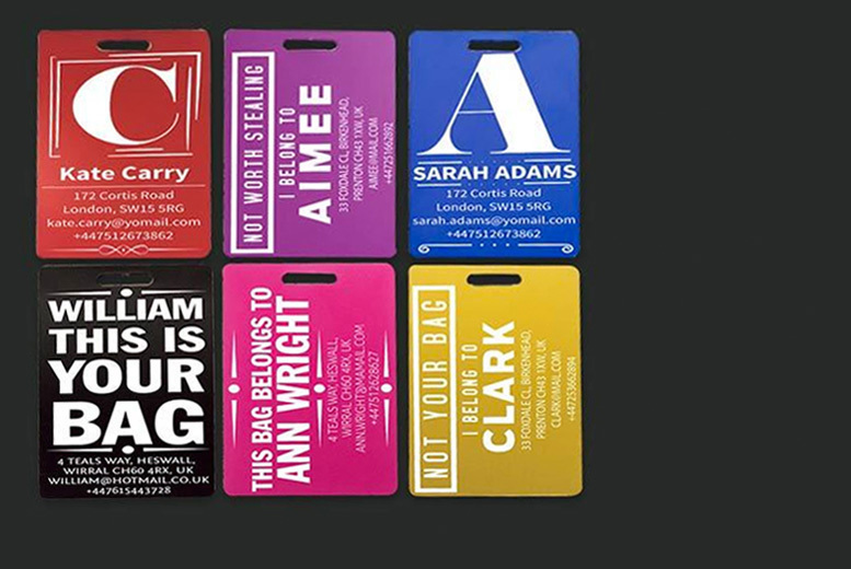 Personalised Aluminium Luggage Tag from £3.99
