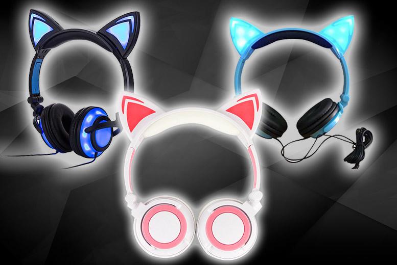 LED Cat Ear Headphones – 3 Colours! for £9.99