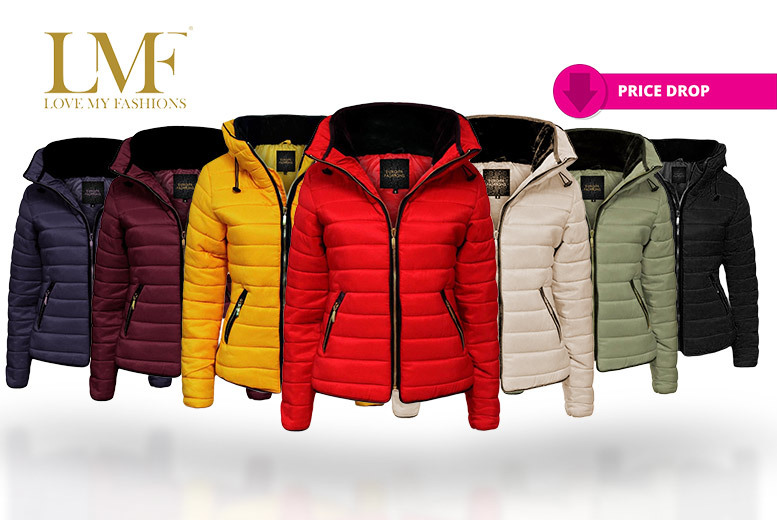 Women's Fur Collar Padded Quilted Jacket – 7 Colours, Sizes 8-22! for £24