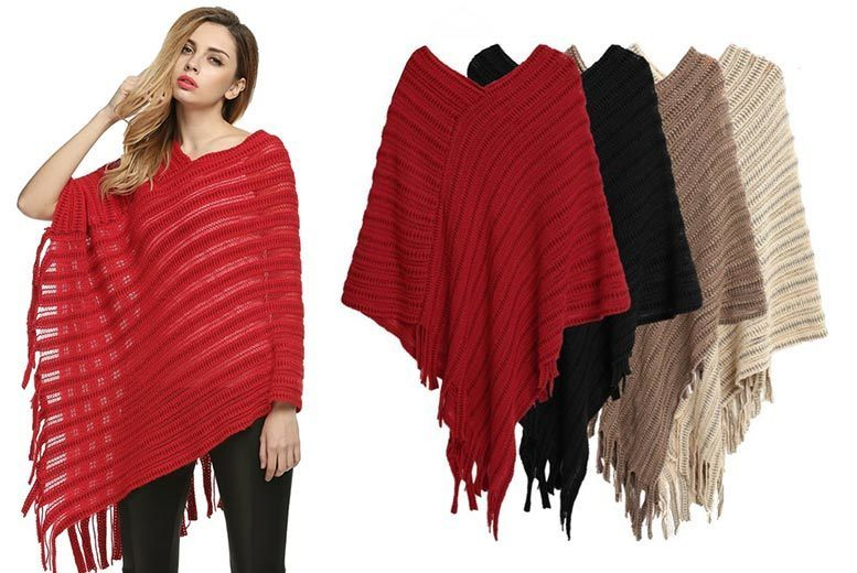 Knitted Poncho – 4 Colours! for £9.99