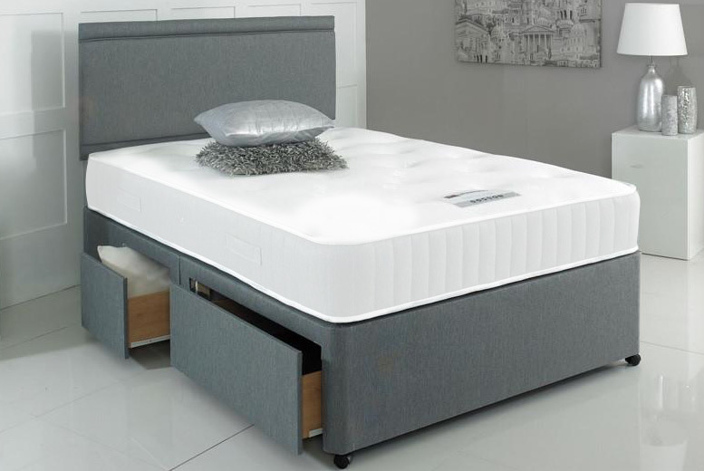 Grey Fabric Divan Bed Set with Mattress, Headboard & Drawer Options from £129