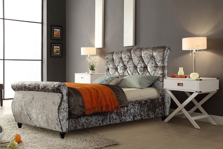 Chesterfield Velvet & Diamante Sleigh Double Bed