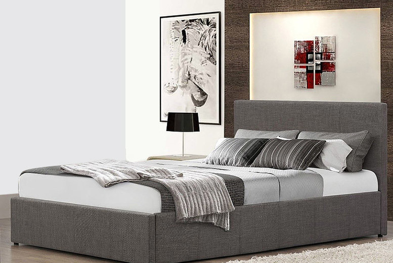Fabric Gas Lift Ottoman Bed – with Optional Memory Mattress! (£129)