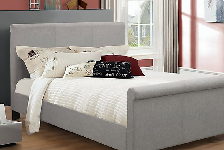 Luxury Grey Fabric Sleigh Bed
