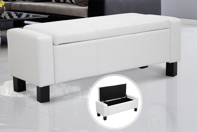Leather Bedroom Storage Bench – 2 Colours! for £69