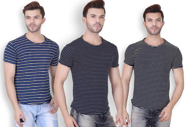Men's Realm Striped T-Shirt – 3 Colours & 4 sizes! for £6.99