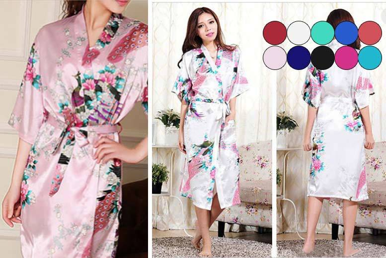 Japanese-Inspired Silky Kimono Robe – 10 Colours! for £9.99