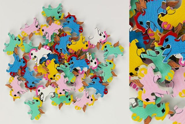 50 coloured plywood craft unicorns