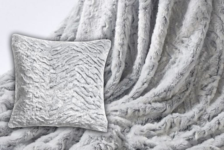 Luxury Faux-Wolf Fur Throw & Matching Cushion Cover from £18