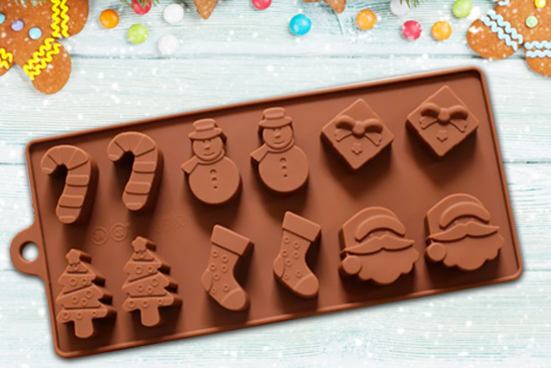 Silicone Xmas Chocolate 12-Mould Tray for £2.99