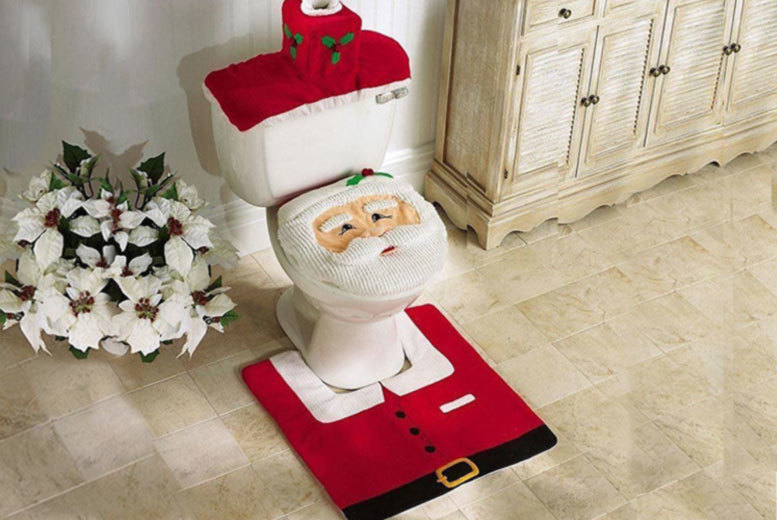 3pc Santa Toilet Seat Cover Set for £5.99