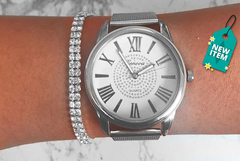 Crystal Watch & Bracelet Gift Set