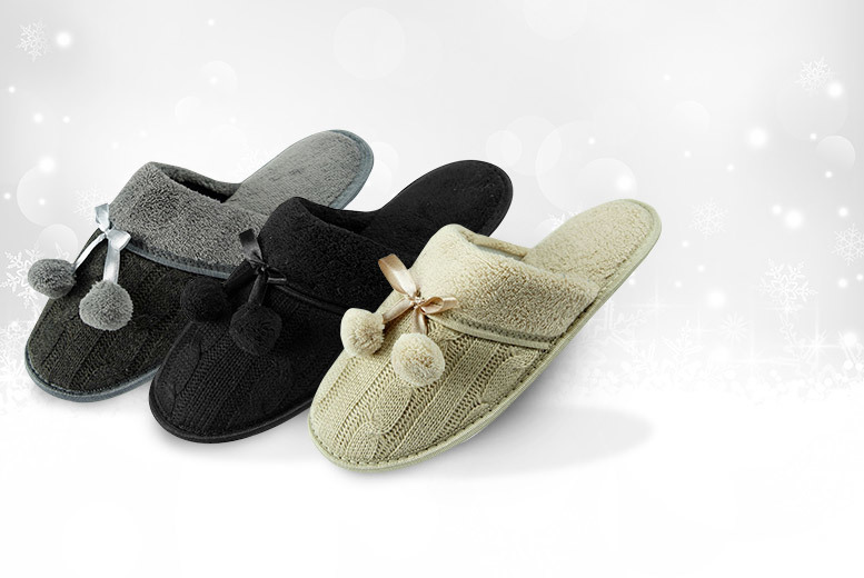 Pom Pom Slippers – 3 Colours and 6 Sizes! for £6