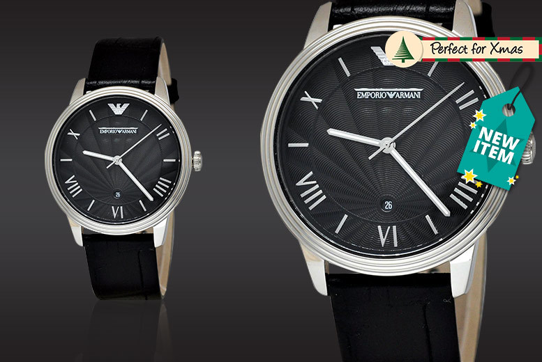 Men's Emporio Armani AR1611 Black Leather Watch