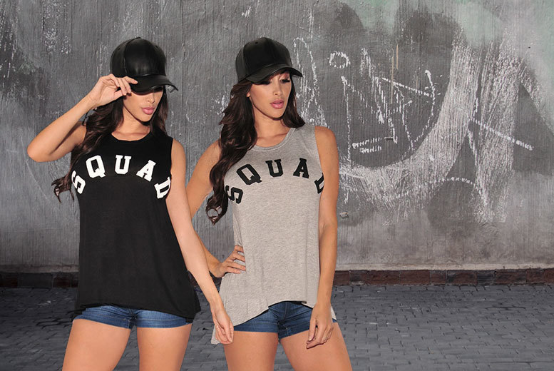 'Squad' Tank T-Shirt – 2 Colours, 4 Sizes! for £6.99