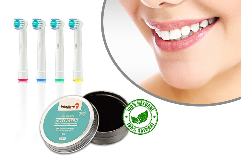 Charcoal Teeth Whitening Powder & 4 Oral-B Compatible Brush Heads for £4.99