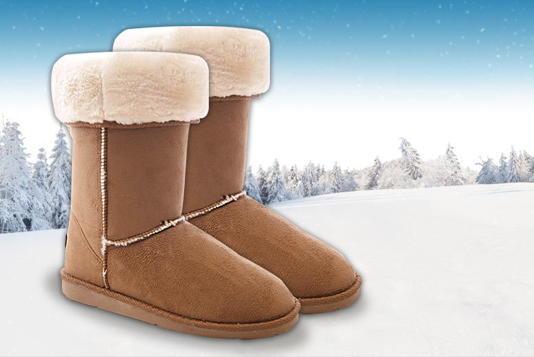 Faux Fur-Lined Chestnut Boots – 6 Sizes! for £12
