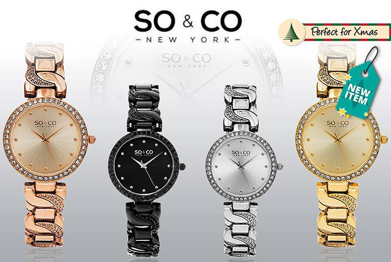 Ladies' SO&CO Crystal Twist Watch - 4 Designs!