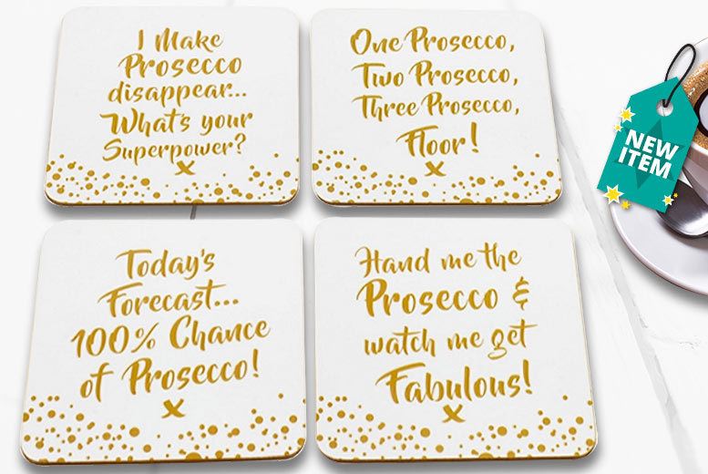 Set of 4 Prosecco Coasters for £3.99