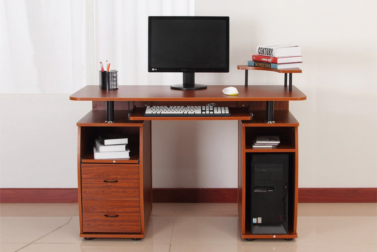 Dual-Drawer Wooden Computer Table – 2 Colours! for £79