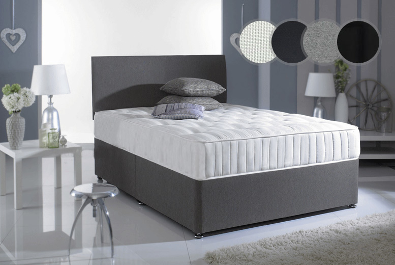 Chenile Divan Set with Spring Mattress – Drawer Options & 4 Colours! from £139