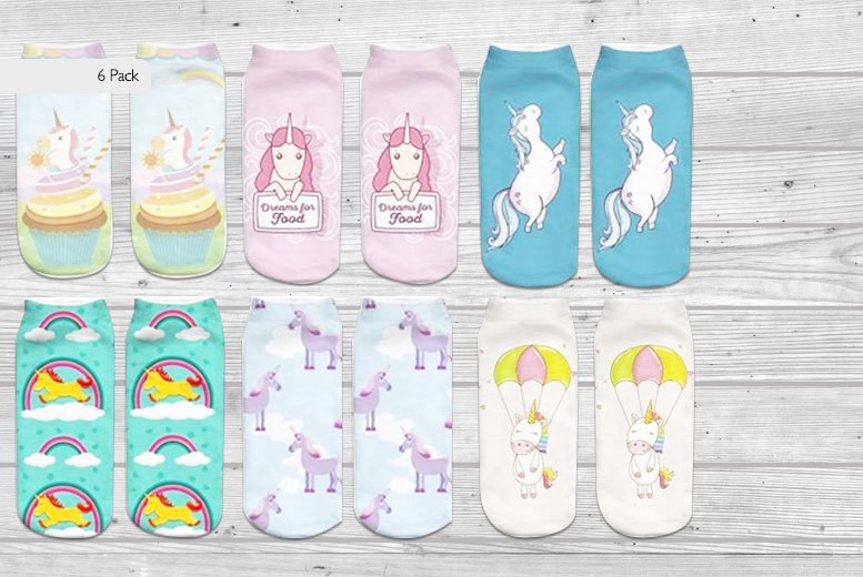 Quirky Unicorn Socks – Assorted 6 Pack for £5.99