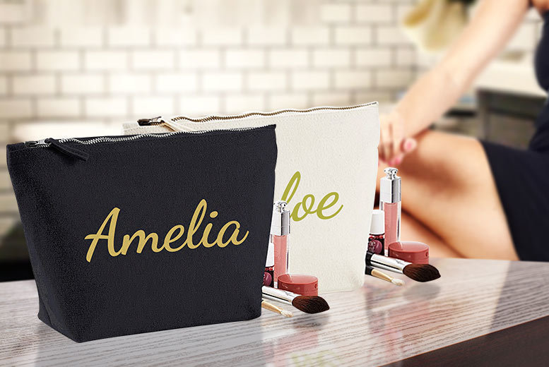 Personalised Makeup Bag – 2 Colours! for £8