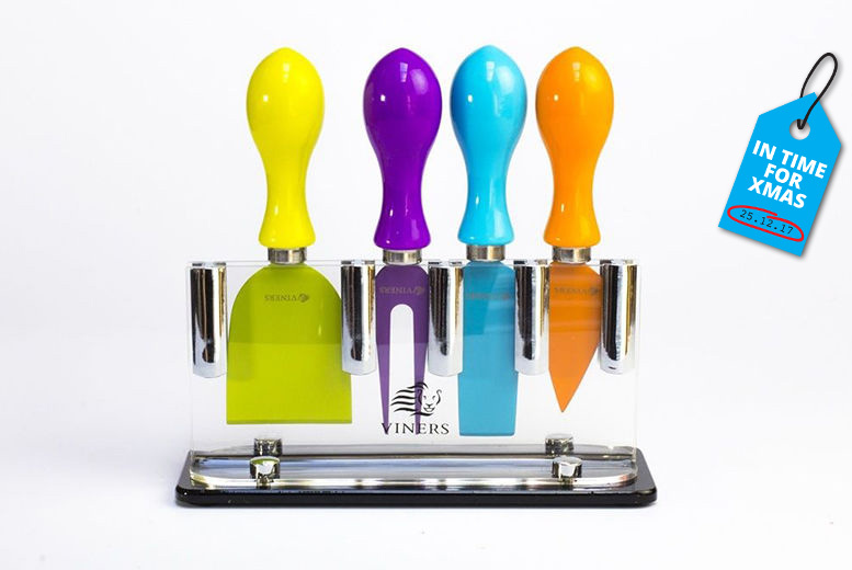 4pc Cheese Knife Set and Stand for £8
