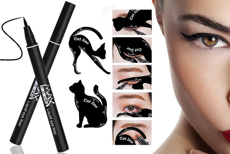 Waterproof Black Eyeliner Pen & Cat Eye Stencil for £2.99