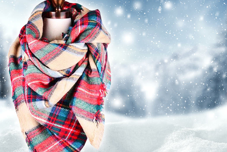 Over-Sized Plaid Scarf for £9