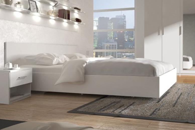 Double White Wooden Low-Loft Bed with Mattress Option
