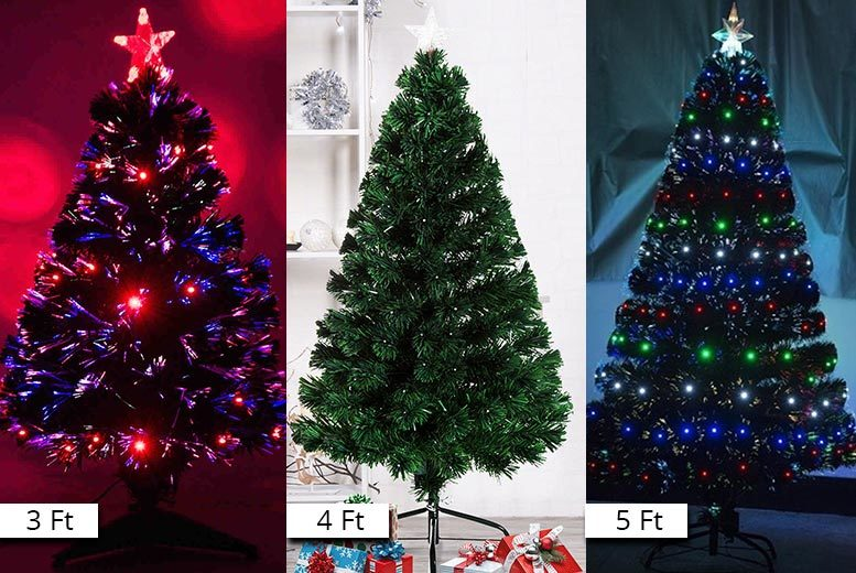 Fibre Optic Led Artificial Xmas Tree 3 Sizes National Deal