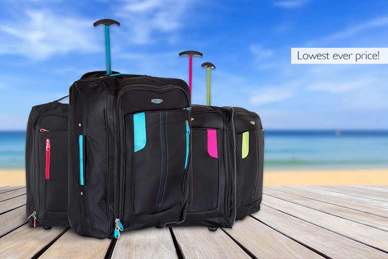 £10 instead of £29.99 for cabin-approved wheelie hand luggage - choose from four colours and save 67%