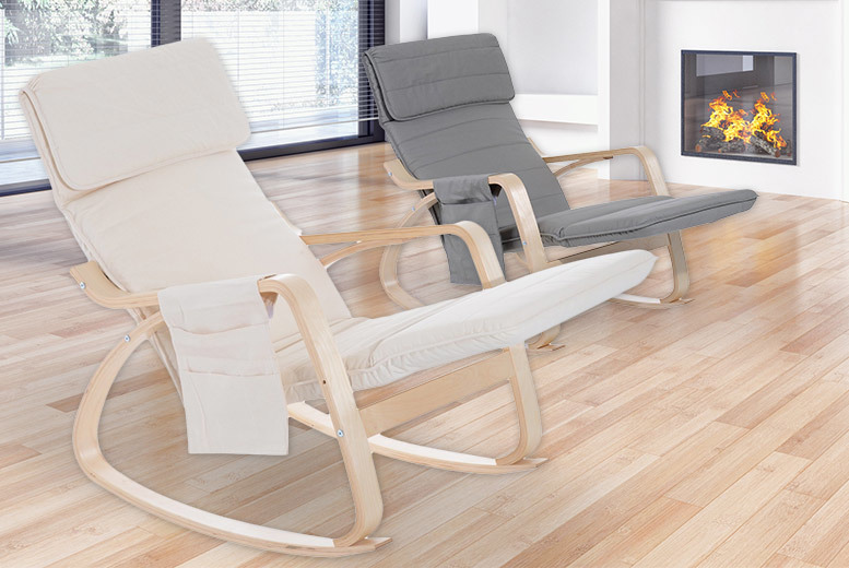 Reclining Chair with Adjustable Footrest & Side Pocket – 2 Colours! for £69