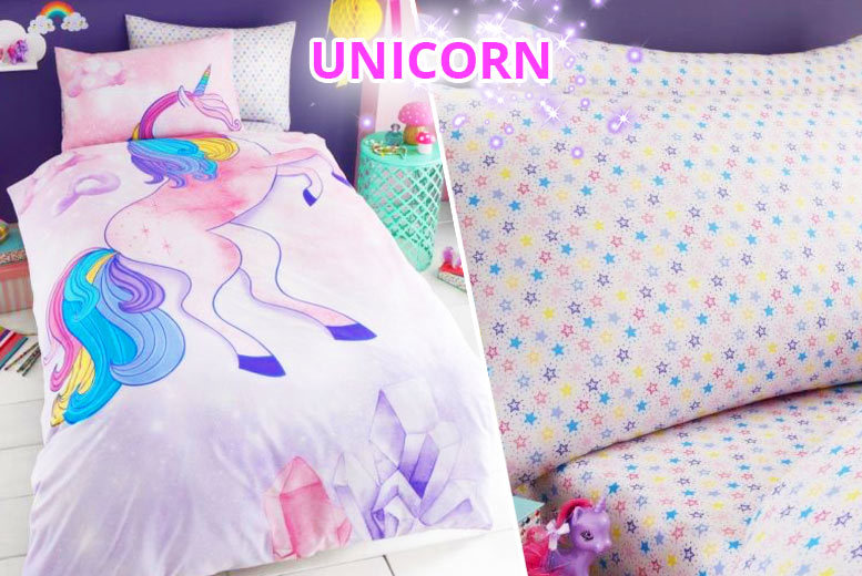 Kids' Unicorn Duvet Sets – 2 Designs + Fitted Sheet Option from £9.99