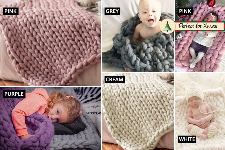 Kids' Hand-Knitted 80 x 80 Super-Chunky Blanket – 5 Colours! for £19