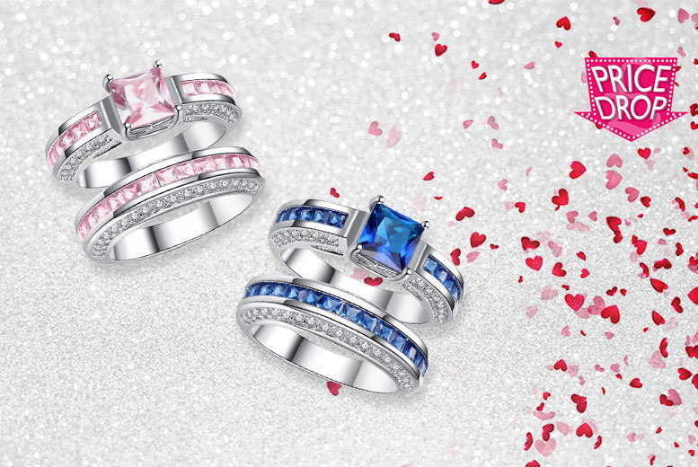 Princess Double Cluster Crystal Ring Set – 2 Colours! for £19