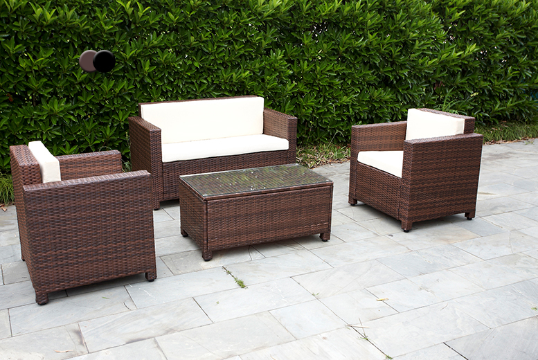4pc roma rattan garden furniture set cushions 2 colours for Garden furniture deals