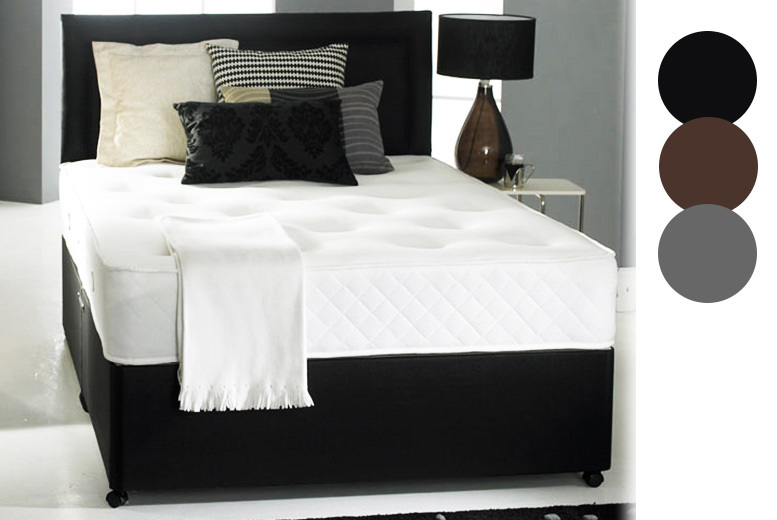 Faux Leather Divan Bed With Memory Foam Mattress & Headboard from £99