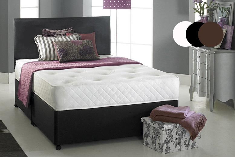Faux Leather Divan Bed with Memory Foam Mattress & Headboard