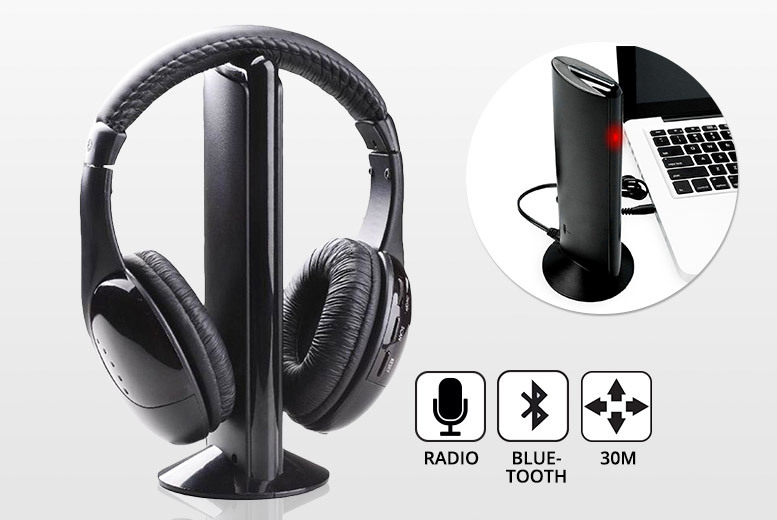 Wireless Bluetooth Over-Ear Headphones with Stand for £9