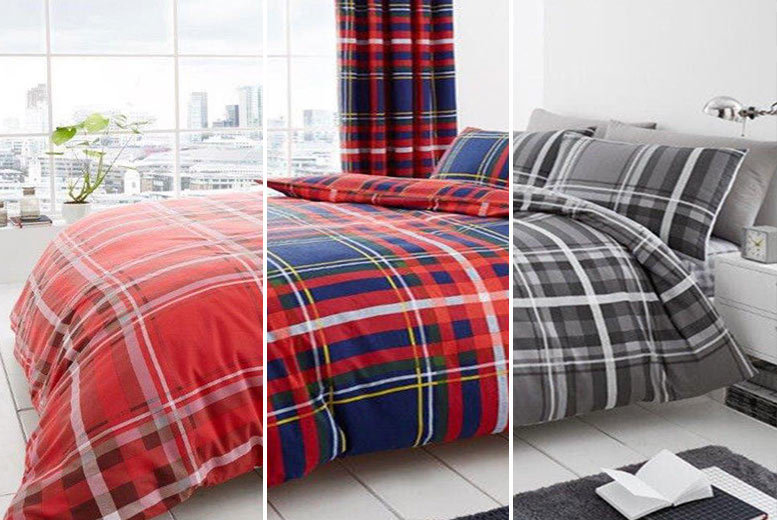 Premium Tartan Duvet Cover Set – 3 Colours! from £9.99