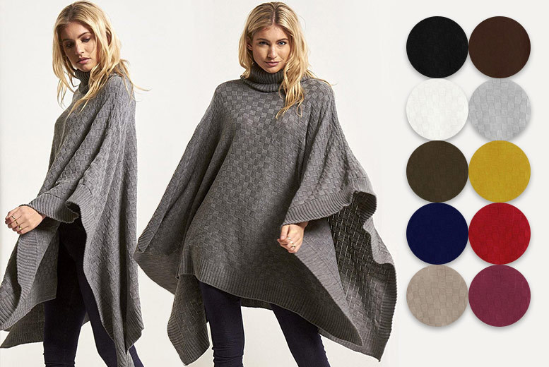Checked Knit Turtle Neck Poncho from £14