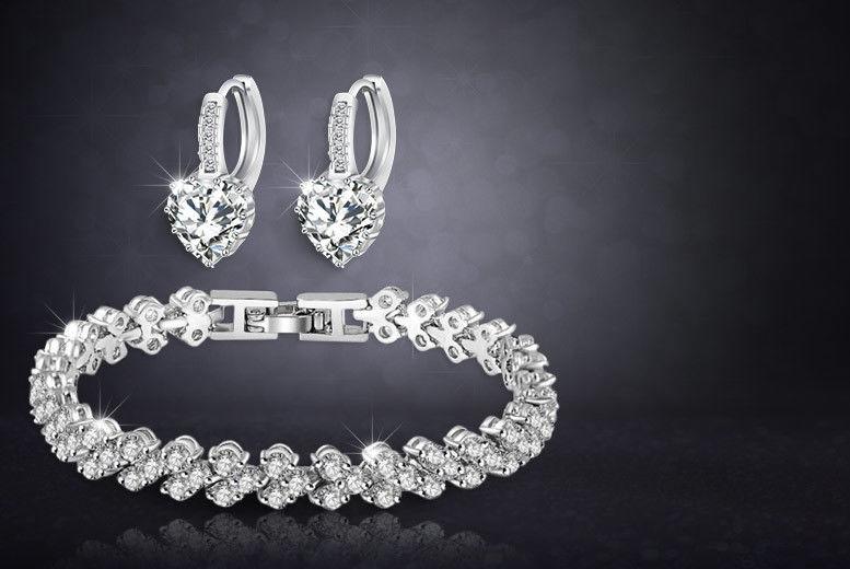 White Gold-Plated Heart Tennis Bracelet & Earrings Set for £9