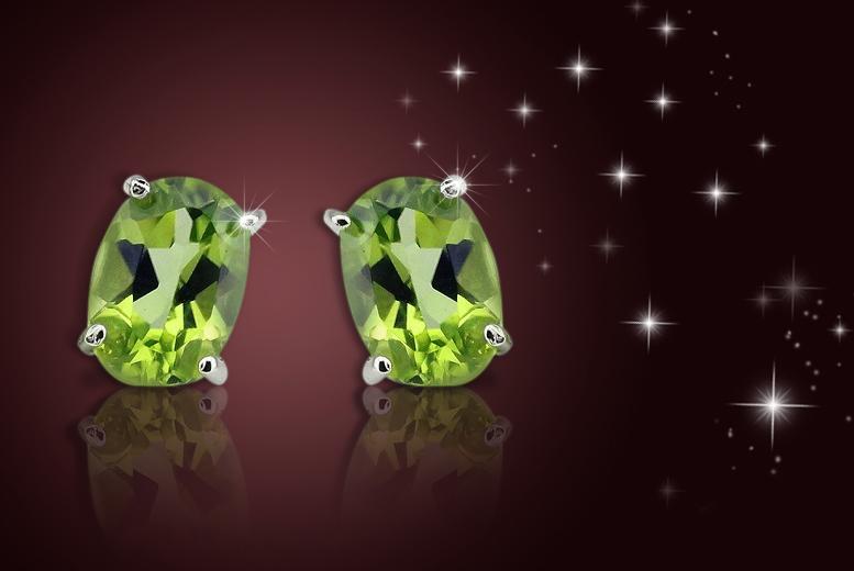 2.00 CTTW Peridot Gemstone Stud Earrings in Sterling Silver for £6