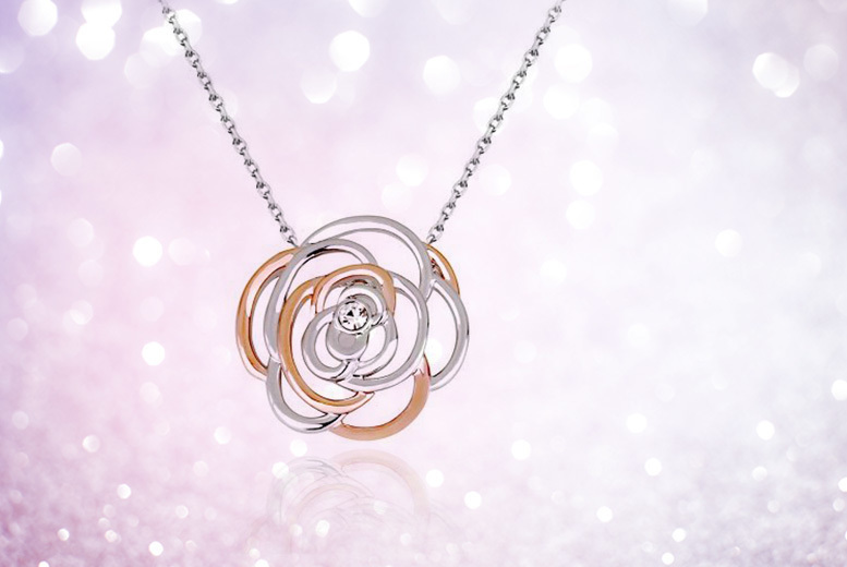 Silver & Rose Gold Coloured Crystal Rose Necklace for £9