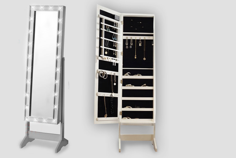 2-In-1 LED Mirror & Jewellery Cabinet – 2 Styles! from £59